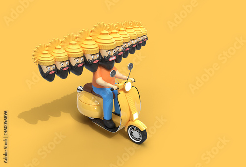Wallpaper Mural Dussehra Celebration - Ravana with Ten Heads Riding Motor Scooter - Pen Tool Created Clipping Path Included in JPEG Easy to Composite
