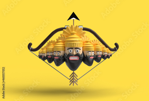 Canvas Print 3D Dussehra celebration - Ravana ten heads with bow and arrow - Pen Tool Created Clipping Path Included in JPEG Easy to Composite
