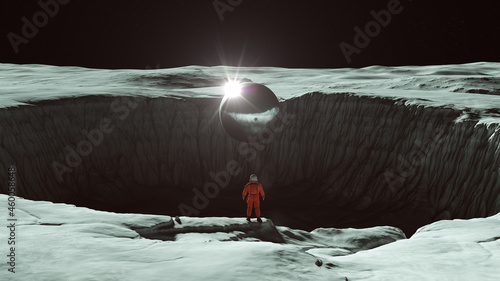 Canvastavla Orange Spaceman Spacewoman With Large Alien Silver Sphere Standing on the Edge o