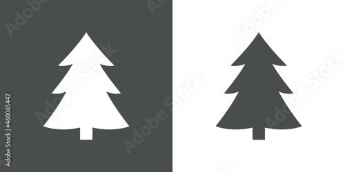 Photo Logotipo árbol de navidad abstracto con ramas en forma de triángulo en fondo gri