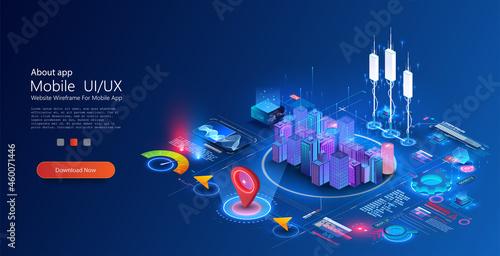 Fotografiet Smart city or intelligent building concept