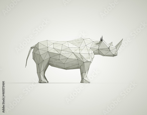 Low poly rhino on white background.