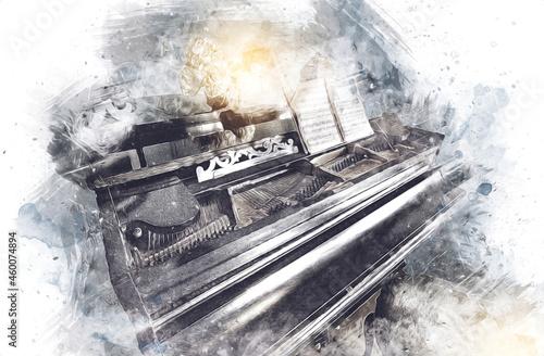 Obraz na plátně black grand piano in white classic room, interior, old, mediaeval old history ar