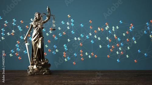 Fotografie, Obraz Justitia Statue Paragrafen Netzwerk