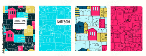 Photo Cover page vector templates based on seamless patterns with cityscapes, historic buildings, archways