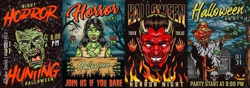 Canvastavla Halloween vintage colorful posters