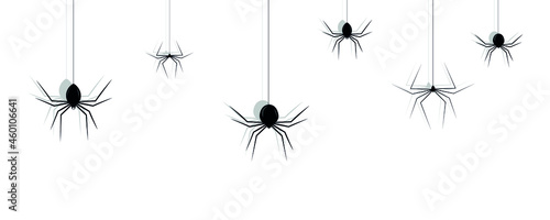 Photo Silhouette of set black spiders for Halloween, Spider icons set