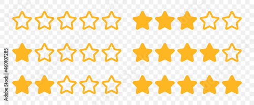 Fotografie, Obraz Rating stars from 0-5 rate review icon set vector on transparent background