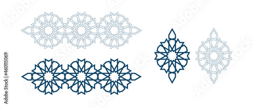 Canvas-taulu Set of templates for arabic luxury bijouterie isolated on white background