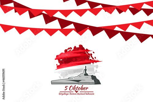 Fototapeta Translation: October 5, Long live Indonesian National Armed Forces! vector illustration