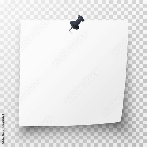 Fotografía Realistic white sticky note with black pin, curl and shadow on transparent background