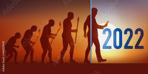 Cette carte de vœux reprend la théorie de l'évolution de Darwin en aboutissant au temps modernes et l'homme d'aujourd'hui qui tient un smartphone dans sa main Fotobehang