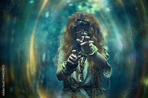 Valokuva witch creating a portal
