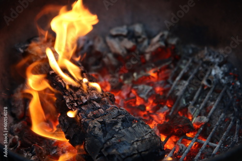 Tablou Canvas Barbecue flaming Charcoal Grill close up photo