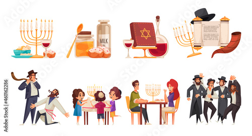 Obraz na plátně Jewish Hanukkah Set