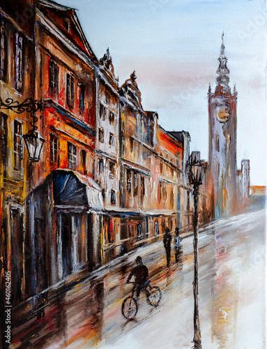 cityscape painted with oil paints Fototapet