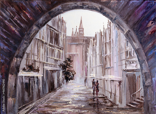 Tablou Canvas cityscape painted with oil paints