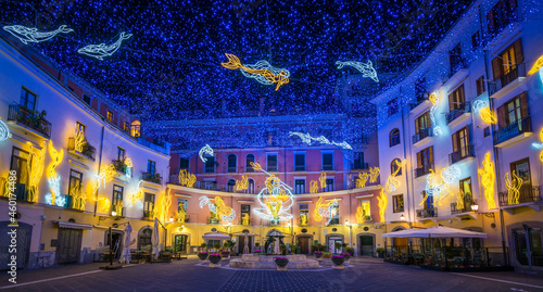 Beautiful Christmas lights in Salerno, Campania, Italy.