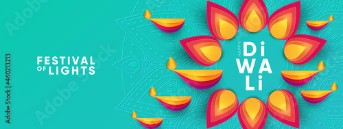 Diwali Hindu festival greeting design in paper cut style with oil lamps and beautiful bright flower of lights. Holiday background for branding greeting card, banner, cover, flyer or poster
