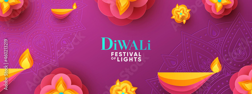 Fotografiet Diwali Hindu festival greeting design in paper cut style with oil lamps and beautiful bright flower of lights