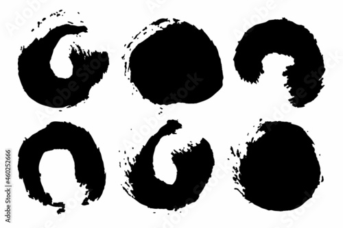 Photo Vector Set of brush Circle Round Black color on white background