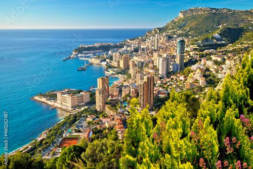 Monaco cityscape and coastline colorful nature of Cote d'Azur view фототапет