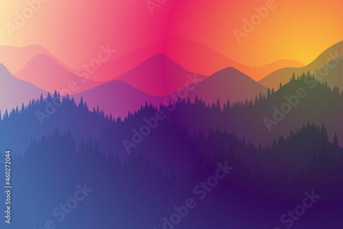Obraz na plátně Mountains range morning or evening landscape with fog and forest