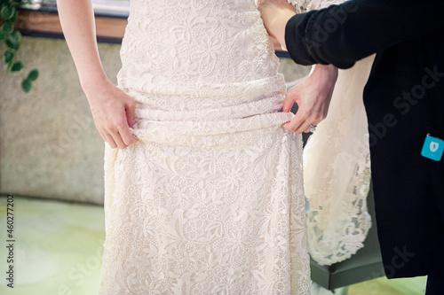 Billede på lærred bride and groom in dress
