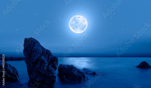 Foto Fantastic landscape with strange stones in the sea -  Night sky with moon in the