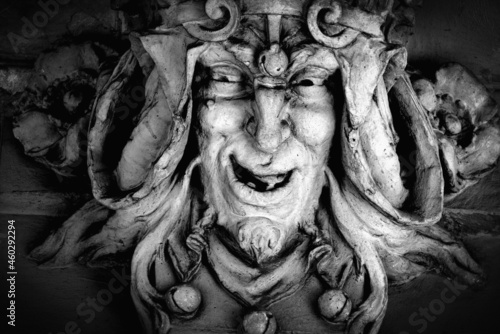 Photographie Monster face of aGreek antique god daimon of eager rivalry, envy, jealousy, and zeal Zelus (Zelos)