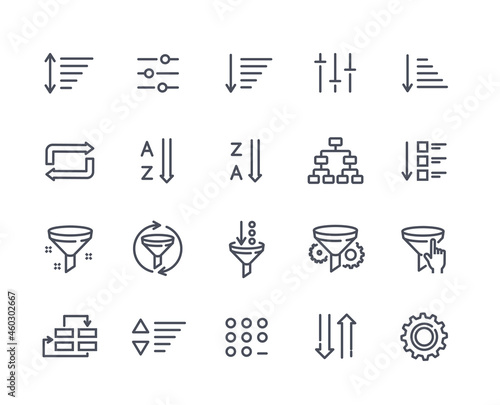 Canvas Print Set of sorting and filtering related linear icons on white background