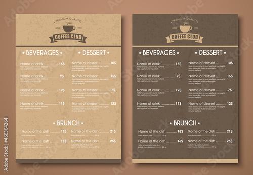 Fotografia Design a menu for the cafe, shops or caffeine in a retro style