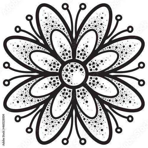 Vászonkép Symmetrical decorative daisy flower with petals on a transparent background