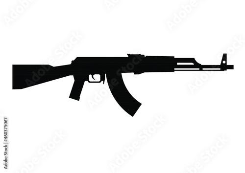 Fotografie, Obraz Vector editable image of a Kalashnikov assault rifle