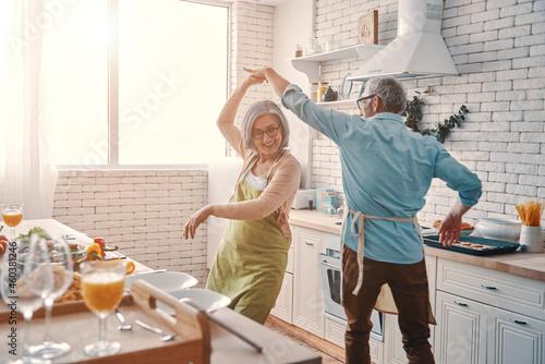 Tela Beautiful playful senior couple in aprons dancing and smiling while preparing he