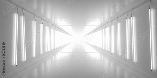 Fotografie, Obraz White tunnel with lamp tubes on the walls. 3d rendering.