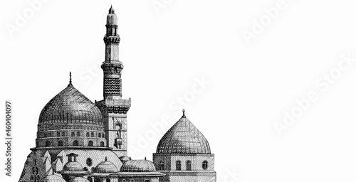 Canvas Print minaret of Al-Masjid al-Nabawi (Prophets Mosque) in Medina and King Fahd