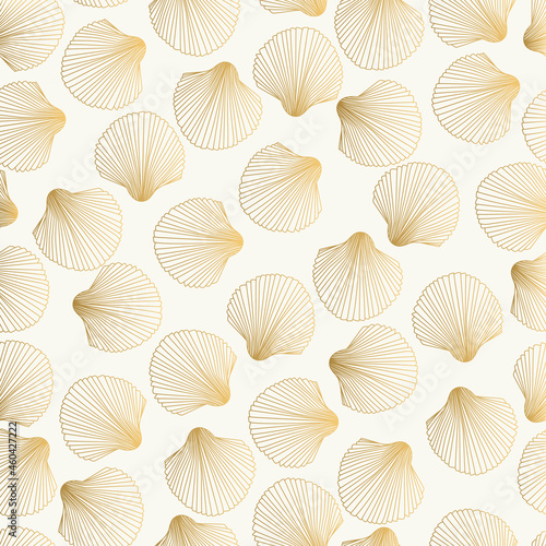 Fotografie, Obraz Gold pattern with shell. Vector fancy scallop design.