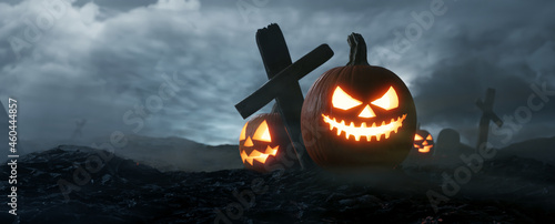 The dark night Halloween, Jack O Lantern on graveyard. 3d rendering