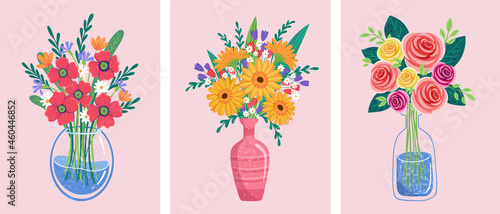 Fotografie, Obraz flower bouquets in wrapping and blooming plant