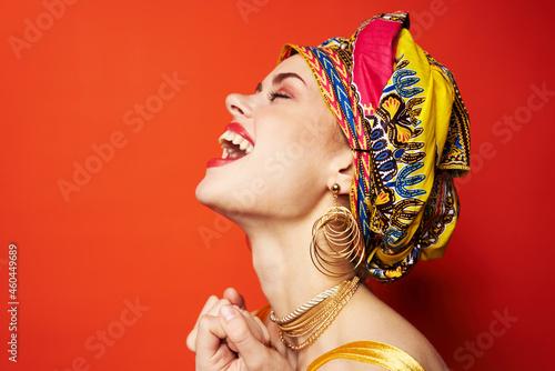Obraz na plátně pretty woman in multicolored turban attractive look Jewelry Studio Model