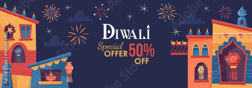 Fotografering Diwali Hindu festival concept with India town decorated for holiday