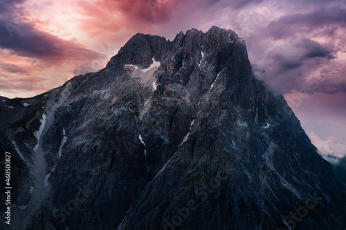 Tablou Canvas aerial view detail of the great horn of the mountain complex of the gran sasso d