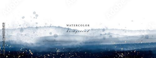 Obraz na plátně Vector watercolor universal background with gold glitter