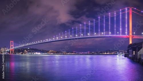 Fotografering Panoramic long exposure of 15 July Martyrs Bridge (Turkish: 15 Temmuz Sehitler Koprusu) with blue sky in Istanbul, Turkey
