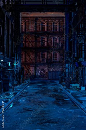 Billede på lærred Portrait format 3D rendering of a seedy cyberpunk city backstreet in the evening
