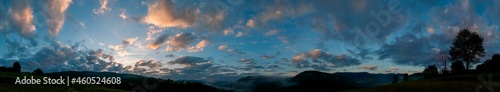 Fotografering Panorama of internet station on the background of evening sky and forest