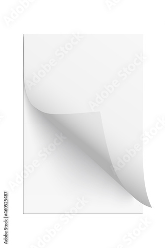 Page sheet with curl paper corner, 3d realistic empty new document leaf folds wi Fototapet