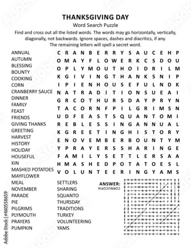 Fotografija Thanksgiving Day holiday word search puzzle (US version)
