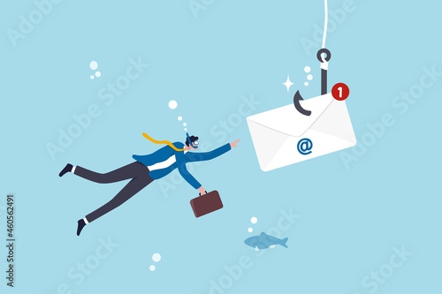 Fototapeta Phishing email, fraud or scam mail offer fake login or password form to steal pe